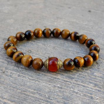 Prosperity and Stability, Genuine Tiger's Eye and Carnelian Guru Bead Mala Bracelet