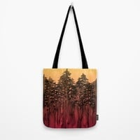 FOREST THROUGH THE TREES 12 Hot Pink Magenta Orange Black Landscape Ombre Abstract Painting Outdoors Tote Bag by EbiEmporium