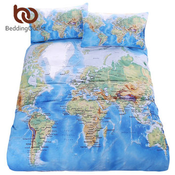 BeddingOutlet World Map Bedding Set Vivid Printed Blue Bed Duvet Cover with Pillowcase Twill Cozy Home Textiles Multi Sizes 3pcs