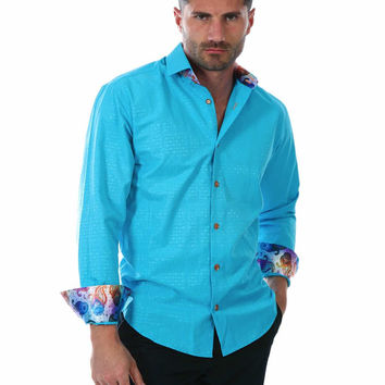 152266 - Turquoise Button Up Long Sleeve Dress Shirt