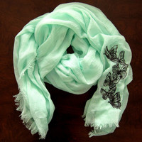 Womens Mint Green Summer Scarf/Shawl-Sheer Lightweight Mint Green Summer Scarf- Embroidered Butterfly Scarf/Shawl-Butterfly Scarf