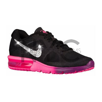 Nike Air Max Sequent Black Pink Grape Blinged Out Swarovski Crystal a42ea0c1a9