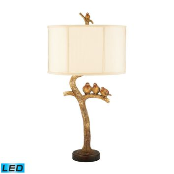 Three Bird Light LED Table Lamp in Gold Leaf and Black Gold Leaf,Black