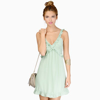 Sleeveless V Neck Ruffled A-Line Mini Dress