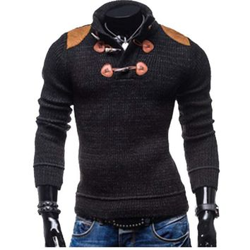 Men's knit sweater 2017 new Slim long-sleeved button collar sweater men's fashion personality MJ2335