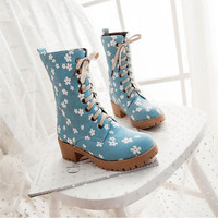 New fashion floral boots