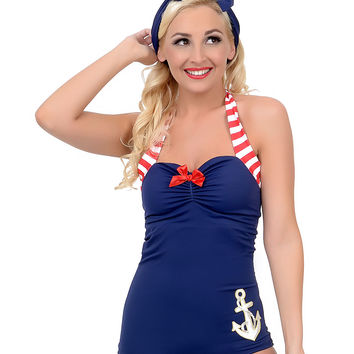Vintage 1950s Style Pin-Up Navy Anchors Away Maillot Swimsuit
