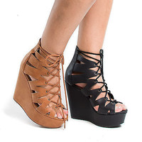 Akela Peep Toe Cut Out Gladiator Lace Up Platform Wedge Heel Sandals