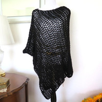 Long black poncho, hand crochet evening wrap, simple black poncho