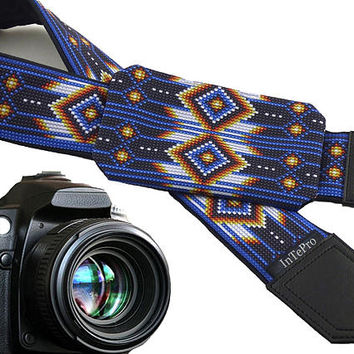 Photo accessories. Native American Inspired camera strap with pocket. Blue camera strap for DSLR and SLR cameras.
