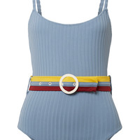 Solid and Striped - The Nina belted ribbed stretch-knit swimsuit