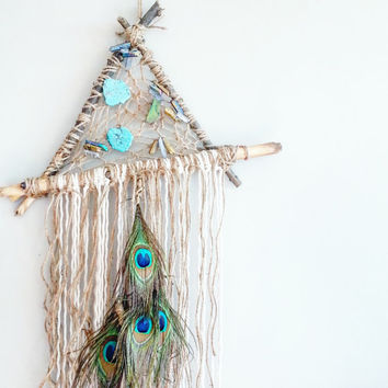 Dream Catcher- DreamCatcher- Turquoise Wall Decor- Wall Accent- Bohemian decor- Boho Decor- Crystals- Home Decor- Hippie- Mermaid- Triangle