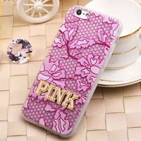 "New Victoria/s Secret PINK Women Soft Cell Phone Cases for iPhone 6 6s 4.7"" VS girl Leopard Metal PINK Stand  Back Cover capa"