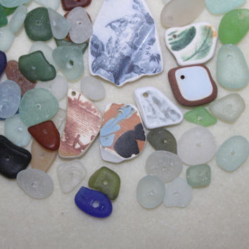 AWESOME BEACHGLASS And POTTERY  Drilled Combo Platter  zy949