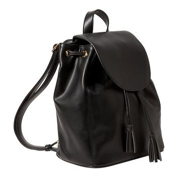Old Navy Womens Faux Leather Backpack Purse Size One Size - Black c7437d1272