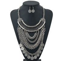Silver Coins Alloy Necklace and Earrings