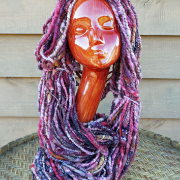 Corespun Art Yarn. Handspun, Hand Dyed. Wool, Silk, Lots of Pinks, Gold Sparkle, Brown