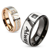 Always Together - Round cut cubic zirconia set in rose gold and black IP engraved couples stainless steel ring