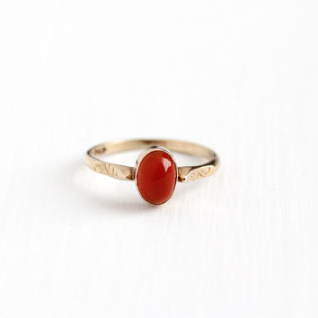Antique 10k Rosy Yellow Gold Carnelian Solitaire Ring - Vintage Edwardian Early 1900s Size 6 Dark Red Cabochon Gem Fine Antique Jewelry