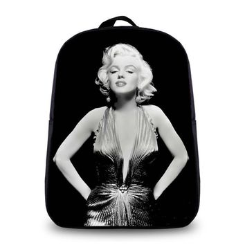 Hot Sale Women and Girl's Fashion Sexy Backpacks 3D Print Marilyn Monroe Student Book Bag School Bag Student Laptop Backpacks