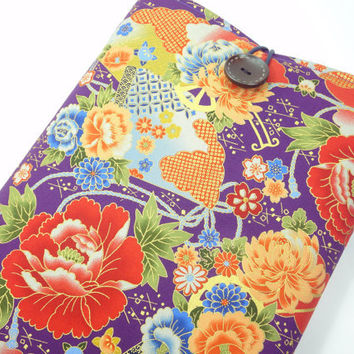Gorgeous Fabric Macbook Sleeve, Unique gift Ideas, Padded Macbook Covers, Japanese Kimono Cotton Fabric Peony Flowers Purple