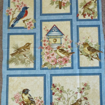 Cotton Fabric, Home Decor Fabric, Wall Hanging, Birds of a Feather Panel by Bristol Bay Studio for Benartex, Beautiful Birds Fast Shipping