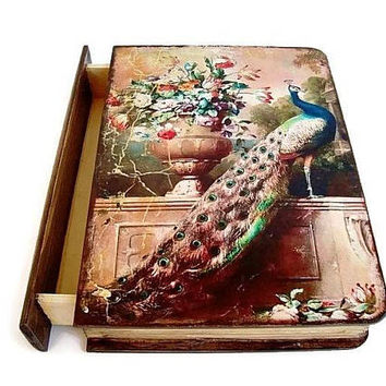 Jewelry Box Peacock Wooden box, Jewelry holder, Girls jewelry box, Peacock jewelry case, Jewelry gift boxes, Big box, Portable jewelry box