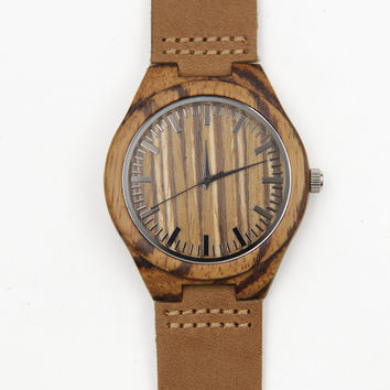 HAVERN Cherokee Zebrawood Wooden Mens Watch