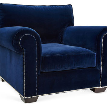 Barclay Butera, Canyon Velvet Club Chair, Navy, Club Chairs