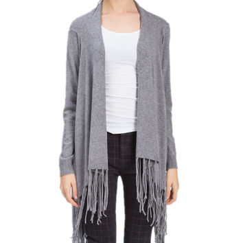 Women Tassel Drape Knitted Sweater Cardigan Outwear
