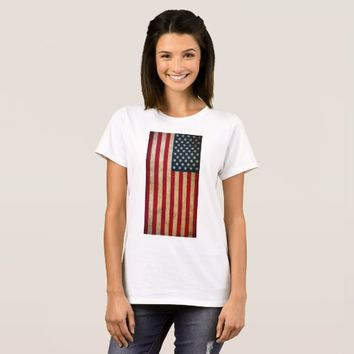 Vintage American Flag Women Basic T-Shirt