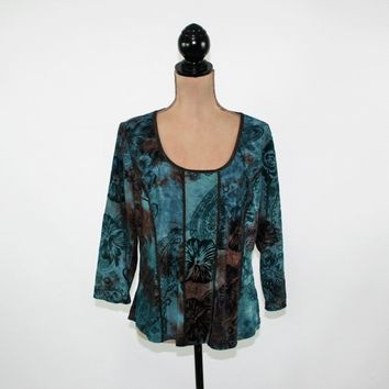 Plus Size Boho Top XL Burnout Velvet Teal Brown Paisley Floral 3/4 Sleeve Pullover Scoop Neck Boho Clothing Vintage Clothing Womens Clothing
