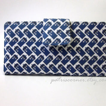 Handmade women bifold wallet Doctor Who small diagonal TARDIS blue - Custom -