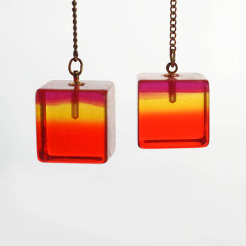 Vintage Mod Orange Lucite Cube Dangle Earrings
