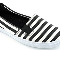 Corkys Anchor Black Striped Slip-On Shoes