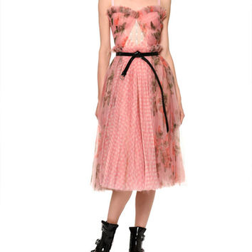 Alexander McQueen Floral Gingham Mesh Bustier Dress and Matching Items