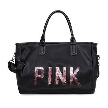 """ Pink "" Printed High Quality Durable Victoria's Secret Like Sport Exercise Carry on Yoga Gym Travel Luggage Bag  _ 13491"