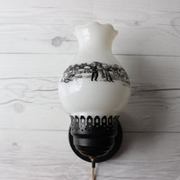 Vintage Electric Currier and Ives Wall Lamp Sconce | Milk Glass Harvest Scene
