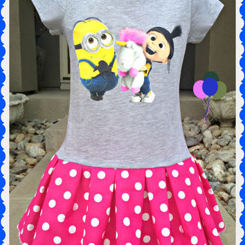 girls MINION Dress Despicable Me 2 so Fluffy girls 6/6x 7/8 10/12 14/16 ready to ship today
