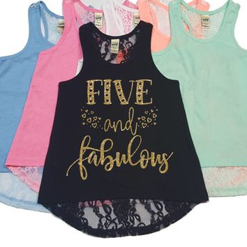 Five and Fabulous - Birthday Tank - Girls Birthday - 5th Birthday - Lace Tank Top - Custom Girl - Girls Tank Tops - Lace Back Tank