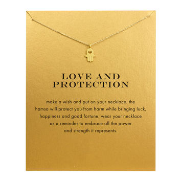 Hot Sale Sparkling Hand gold plated Pendant necklace Clavicle Chains necklace Statement Necklace Women Jewelry has white card