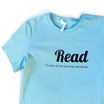 Reading is Cool Adult Womens Tshirt Literature is Cool Reading Teacher Gift Idea