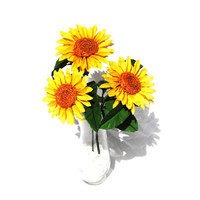 Sunflower Gift , Sunflower Bloquet for Wedding, Set of 3 Origami Flower , Paper Sunflower , Artificial Flower , Mock Flower