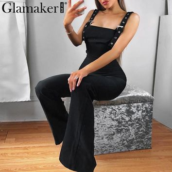 Glamaker Black sexy high waist jumpsuit women Winter tank slim wide leg long jumpsuit romper Female autumn elegant overalls 2018