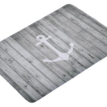 Floor Mat Vintage White Nautical Anchor on Gray Wood Print Non-slip Rugs Carpets Alfombra for Indoor Outdoor
