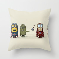 Minion Avengers Throw Pillow by CforCel
