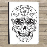 "Candy Sugar Skull PU Leather Flip Standing Universal Tablet Case Cover Kindle Fire HD 7"" iPad 2 / 3 / 4 Samsung Galaxy Tab Google Nexus"