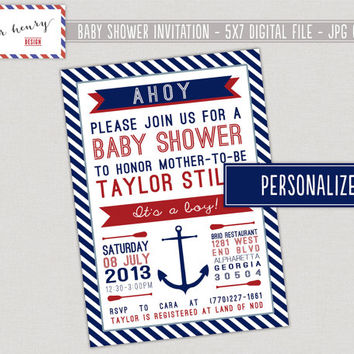 Nautical Baby Shower Invitation, Ahoy It's A Boy Nautical PRINTABLE Baby Shower Invitation,  Nautical Baby Shower, Red White Blue Nautical