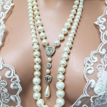 Bridal jewelry set, Wedding jewelry, backdrop necklace, bridal necklace, long pearl necklace, crystal jewelry, bridal earrings,party jewelry