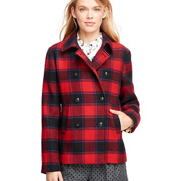 Wool Double-Breasted Buffalo Check Coat - Brooks Brothers